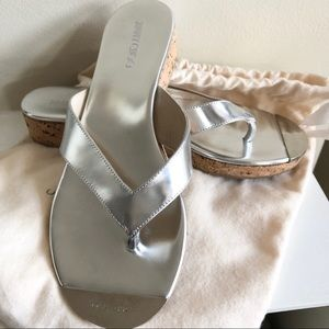 JIMMY CHOO Silver Mirrored Leather Thong Sandal